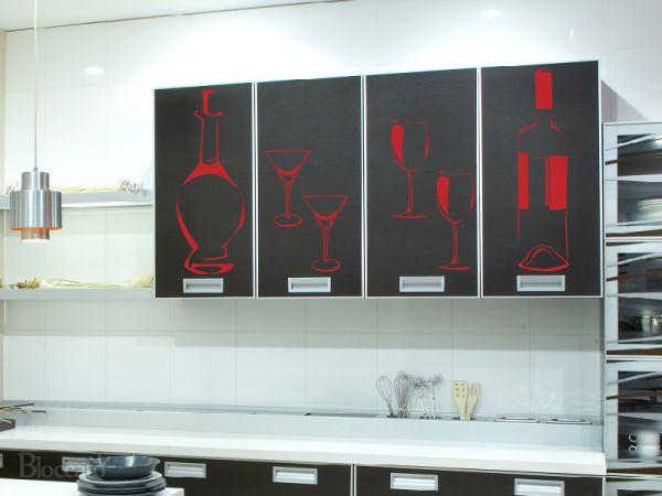 Artesanato Com Tecido E Cola ~ Adesivo Decorativo de Parede Cozinha Drinks Bloccato Adesivos