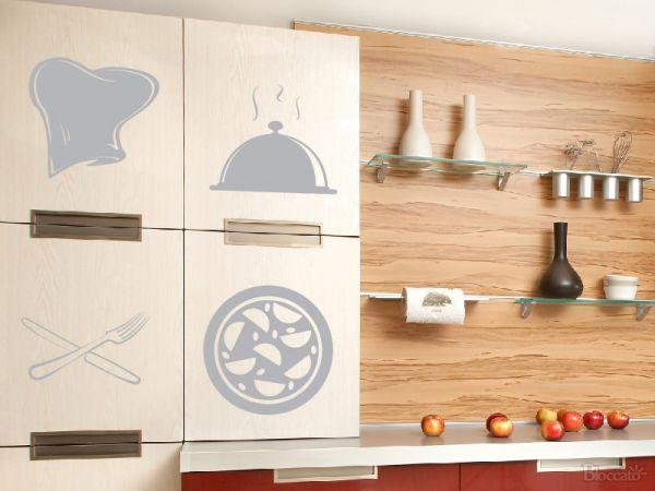Artesanato Com Tecido E Cola ~ Adesivo Decorativo de Parede Cozinha Cheff Bloccato Adesivos